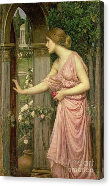 Cupid Canvas Print - Psyche Entering Cupid's Garden by John William Waterhouse