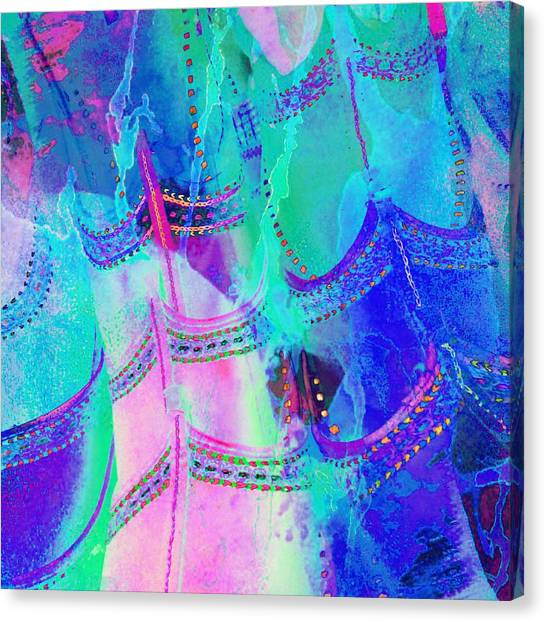 Psychedelic Blue Shoes Shopping Is Fun Abstract Square 4f Canvas Print