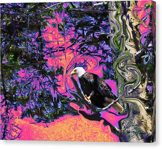 Psychedelic Eagle Canvas Print by Wilbur Young