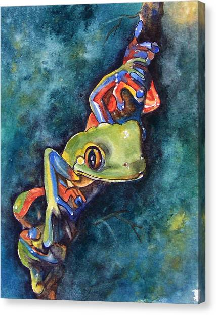 Frogs Canvas Print - Psychedelic Frog by Gina Hall