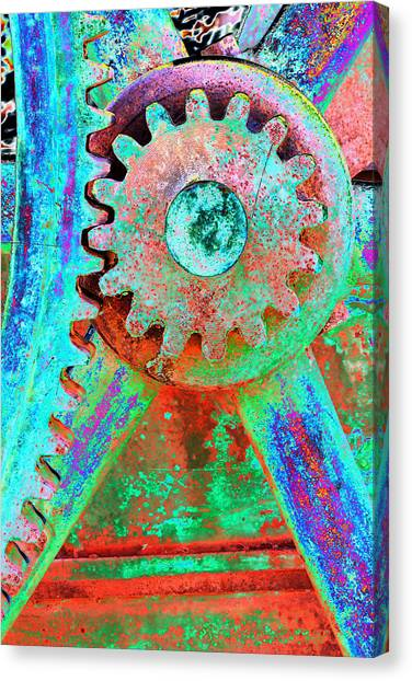 Psychedelic Gears Canvas Print