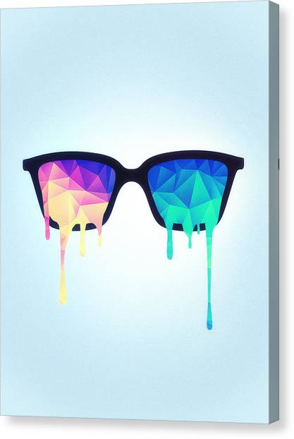 Shrooms Canvas Print - Psychedelic Nerd Glasses With Melting Lsd Trippy Color Triangles by Philipp Rietz