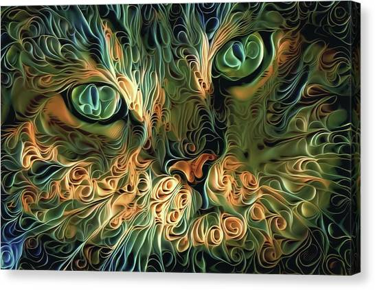 Psychedelic Tabby Cat Art Canvas Print