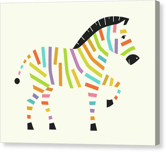 Zebras Canvas Print - Psychedelic Zebra by Jazzberry Blue
