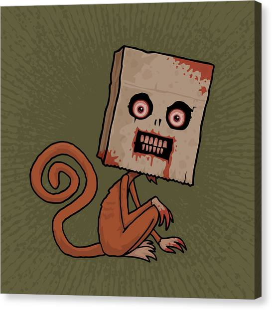Monkeys Canvas Print - Psycho Sack Monkey by John Schwegel
