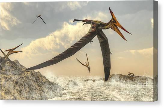 Pterodactyls Canvas Print - Pteranodon Bird Flying Above Ocean by Elena Duvernay
