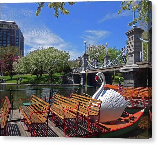 Public Garden Swan Boat In The Spring Boston Ma Canvas Print