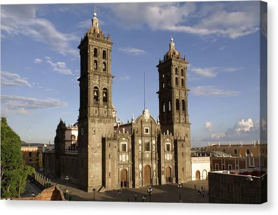 Puebla Cathedral Horizontal Mexico Canvas Print