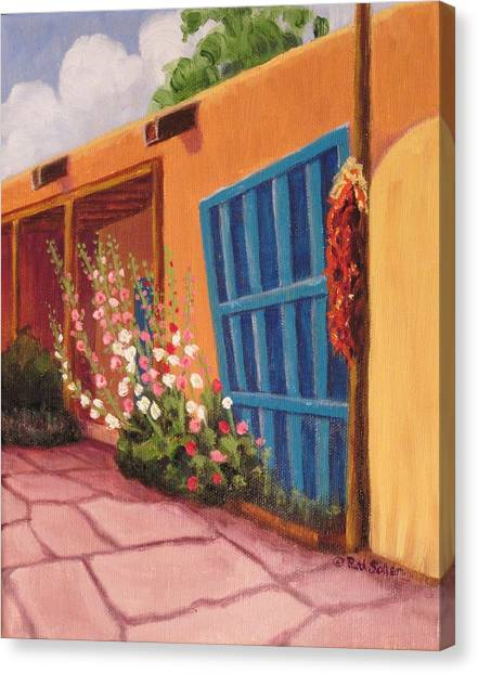 Puerta Azul En Taos Canvas Print