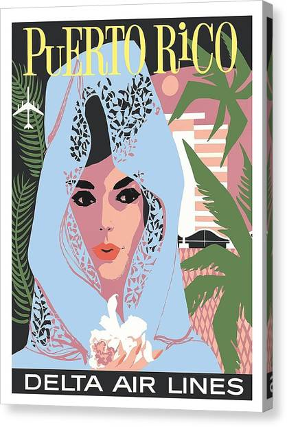 Deltas Canvas Print - Puerto Rico Delta Air Lines Woman In Blue Lace Mantilla Vintage Travel Poster by Retro Graphics