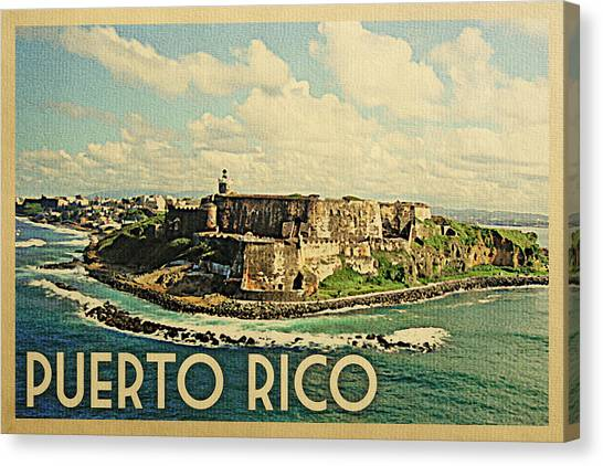 Puerto Rico Canvas Print - Puerto Rico Travel Poster - Vintage Travel by Flo Karp