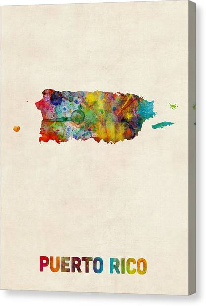 Puerto Rico Canvas Print - Puerto Rico Watercolor Map by Michael Tompsett