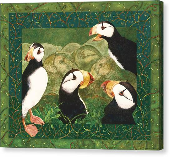 Puffin Talk Canvas Print