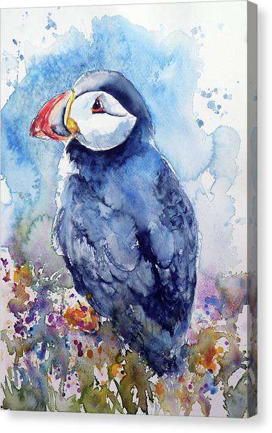 Puffin Canvas Print - Puffin With Flowers by Kovacs Anna Brigitta