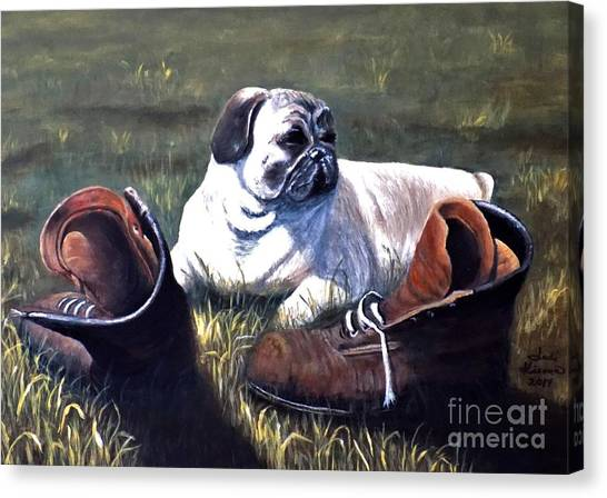 Pug And Boots Canvas Print