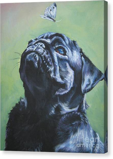 Pugs Canvas Print - Pug Black  by Lee Ann Shepard
