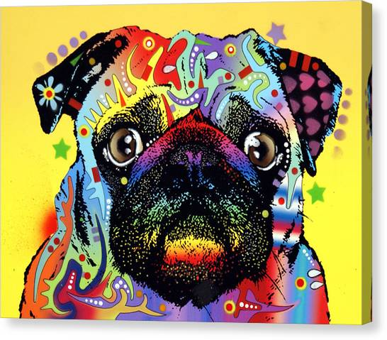 Pugs Canvas Print - Pug by Dean Russo Art