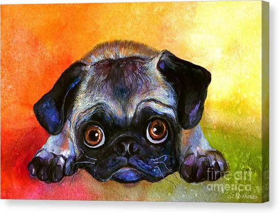 Pugs Canvas Print - Pug Dog Portrait Painting by Svetlana Novikova