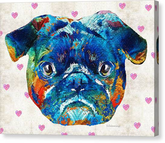 Pug Canvas Print - Pug Love Dog Art By Sharon Cummings by Sharon Cummings