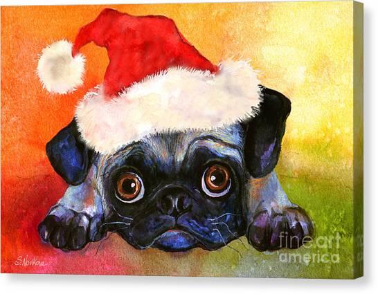 Watercolor Pet Portraits Canvas Print - Pug Santa Portrait by Svetlana Novikova