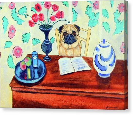 Pugs Canvas Print - Pug Scholar by Lyn Cook