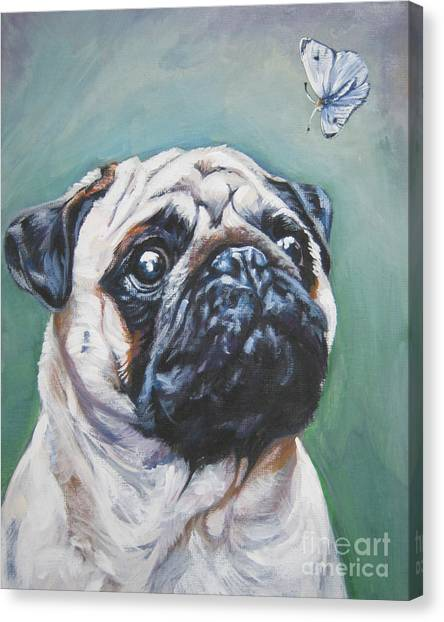 Pugs Canvas Print - Pug With Butterfly by Lee Ann Shepard