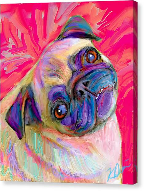 Pugs Canvas Print - Pugsly by Karen Derrico