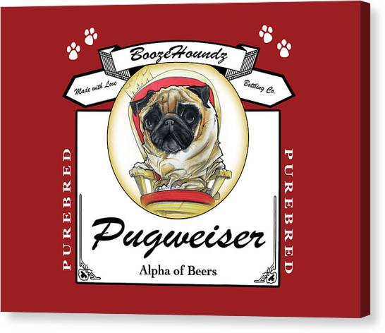 Craft Beer Canvas Print - Pugweiser Beer by John LaFree