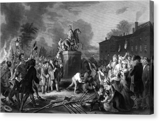 Revolutionary War Canvas Print - Pulling Down The Statue Of George IIi by War Is Hell Store