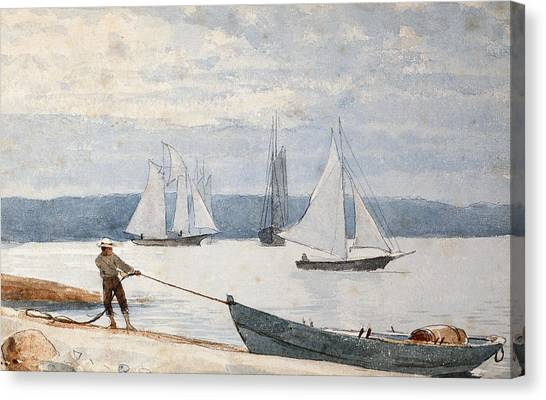 Boat Canvas Print - Pulling The Dory by Winslow Homer