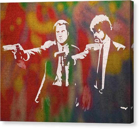 Pulp Fiction Canvas Print - Pulp Fiction Movie Minimal Silhouette Watercolor Painting by Design Turnpike
