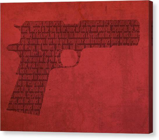 Pulp Fiction Canvas Print - Pulp Fiction Quote Typography In Gun Silhouette by Design Turnpike