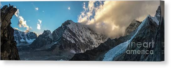 K2 Canvas Print - Pumori  And Changri Peak  Panorama by Mike Reid