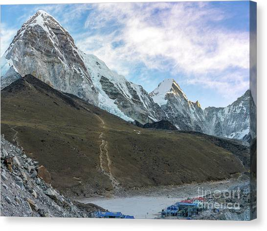 K2 Canvas Print - Pumori Peak Above Kalla Patthar And Gorak Shep by Mike Reid