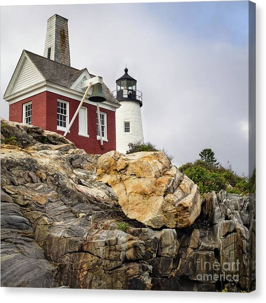 Pumphouse And Tower, Pemaquid Light, Bristol, Maine  -18958 Canvas Print