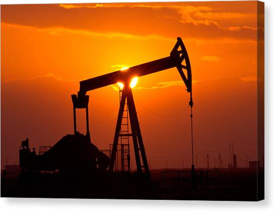 Tanks Canvas Print - Pumping Oil Rig At Sunset by Connie Cooper-Edwards