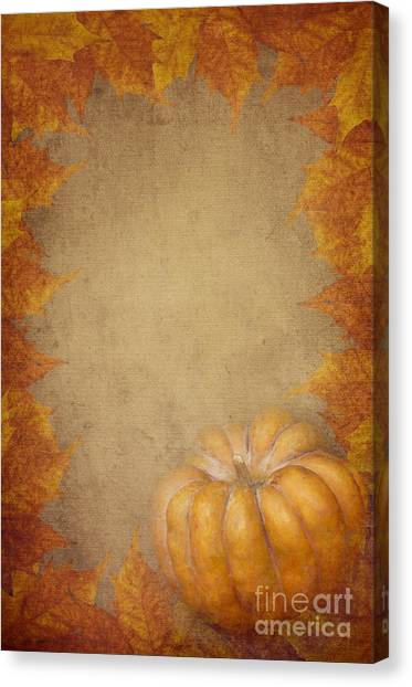 Pumpkin And Maple Leaves Canvas Print