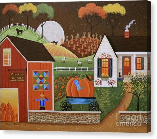 Pumpkin Patch Canvas Print - Pumpkin Farm by Mary Charles