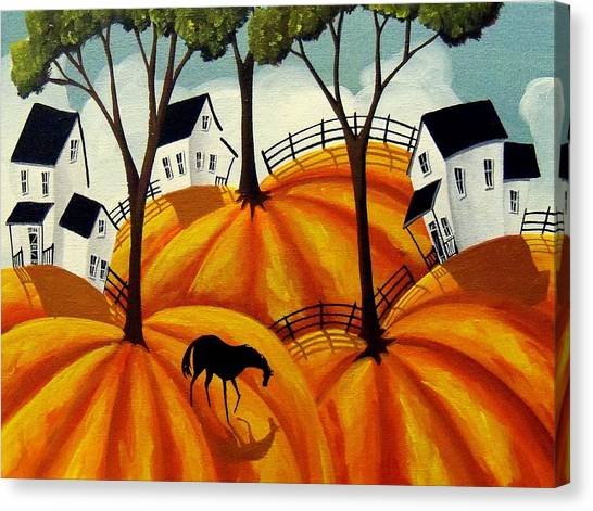 Funny Horses Canvas Print - Pumpkin Firelds - Abstract Folk Art by Debbie Criswell