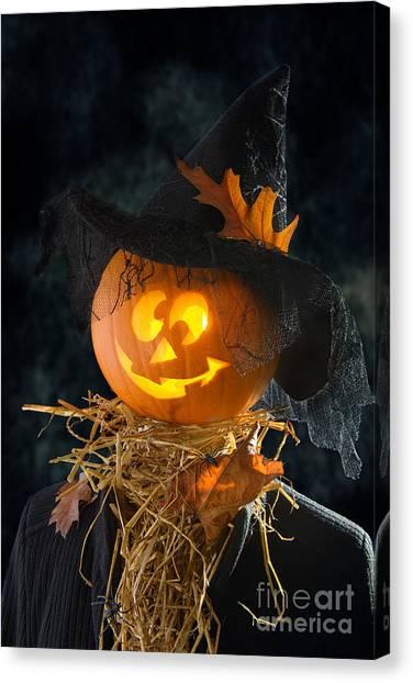 Hat Trick Canvas Print - Pumpkin Head by Amanda Elwell