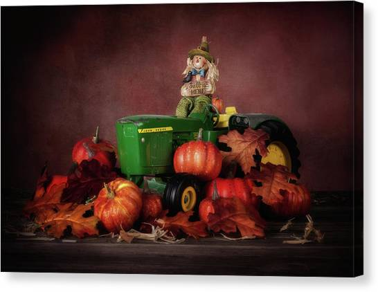 Tractor Canvas Print - Pumpkin Patch Whimsy by Tom Mc Nemar