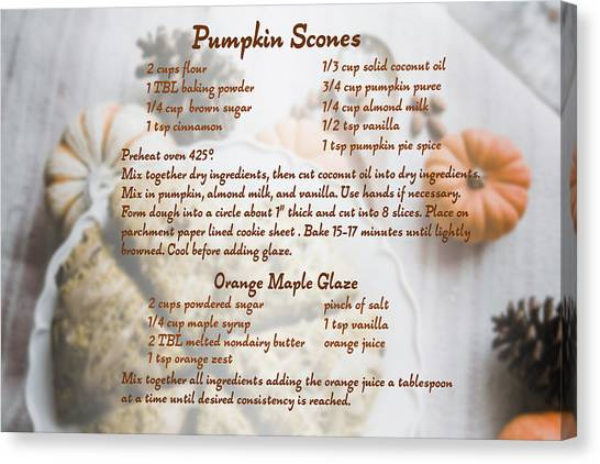 Pumpkin Scones Recipe Canvas Print