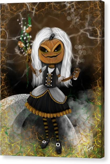 Pumpkin Spice Latte Monster Fantasy Art Canvas Print