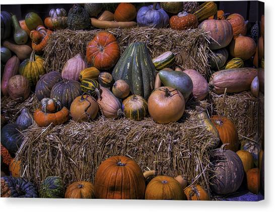 Hay Bales Canvas Print - Pumpkins And Hay Blaes by Garry Gay