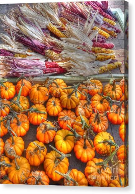 Indian Corn Canvas Print - Pumpkins And Indian Corn by David Bearden