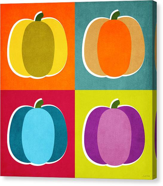 Pumpkins Canvas Print - Pumpkins- Pop Art By Linda Woods by Linda Woods