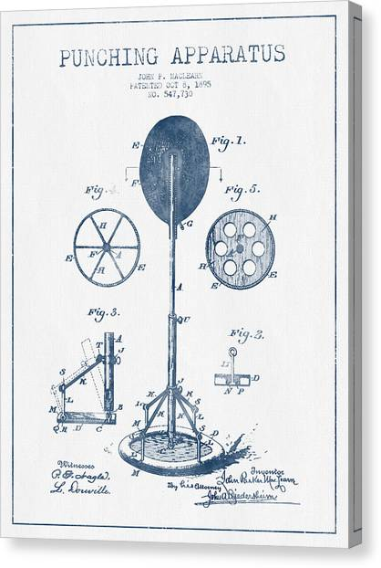 Karate Canvas Print - Punching Apparatus Patent Drawing From 1895 -  Blue Ink by Aged Pixel