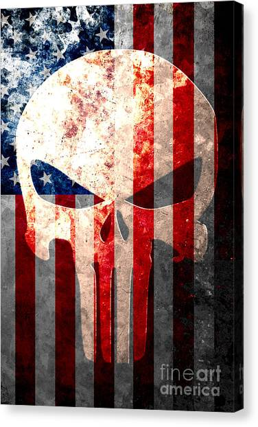 Punisher Skull And American Flag On Distressed Metal Sheet Canvas Print