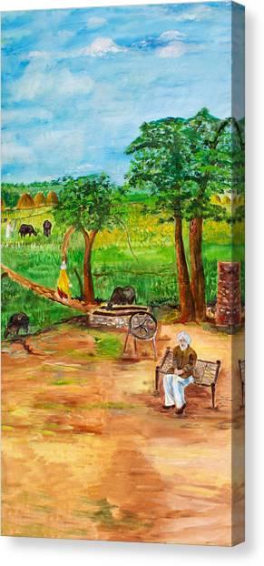 Sikh Art Canvas Print - Punjabi Farmer by Sarabjit Singh