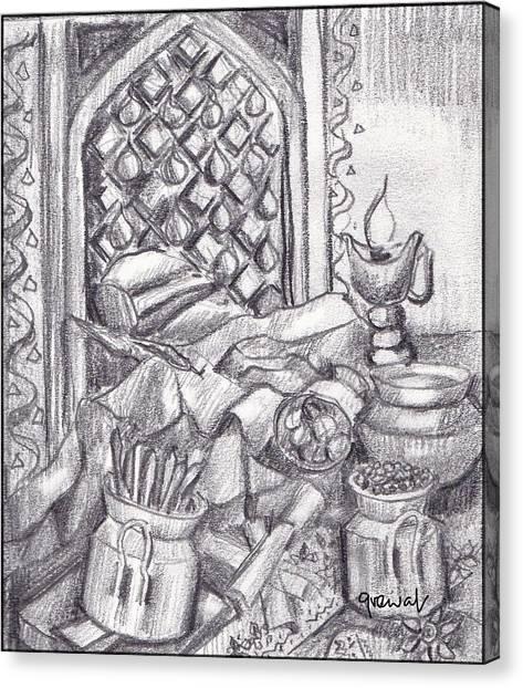 Sikh Art Canvas Print - Punjabi Kitchen Pencil Sketch  by Sukhpal Grewal